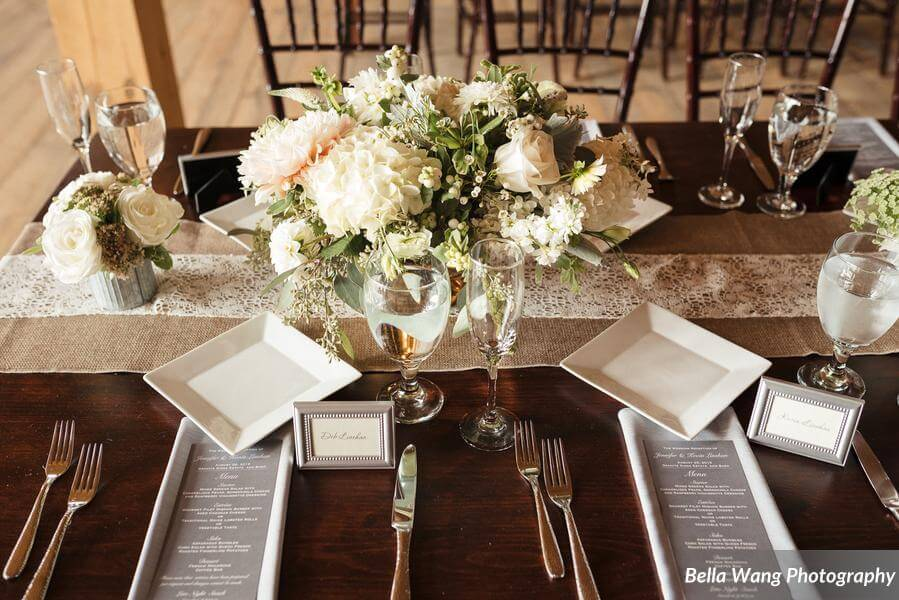 White and Gray Table Setting